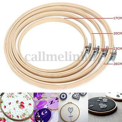 """4Pcs Bamboo Wooden Embroidery Cross Stitch Ring Hoop Frame from 7"""" to 11"""" UK"""