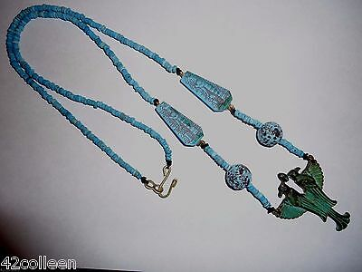 Blue Faience Mummy,Venetian Glass Beads Egypt REVIVAL Necklace,Earrings 1920's