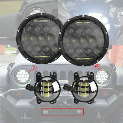 "7 Inch Black Projector Lens Led Headlights+4"" Inch Fog Lamps DRL Jeep Wrangler"