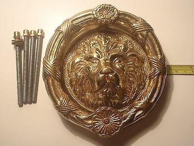 """A Large 6"""" Diameter Re-Claimed And Used Heavy Brass Lion Ringed Door Knocker"""