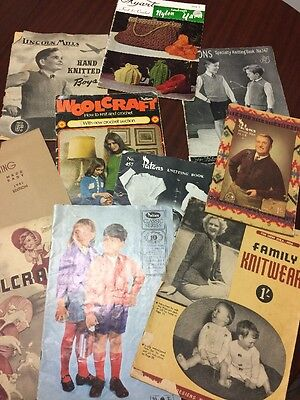 Collection Of 10 Vintage Knitting Books Patons Woolcraft From 1940's To 1970's