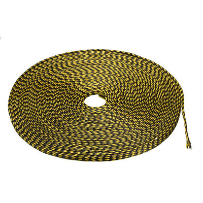 4mm PET Cable Wire Wrap Expandable Braided Sleeving Black Yellow 10M Length