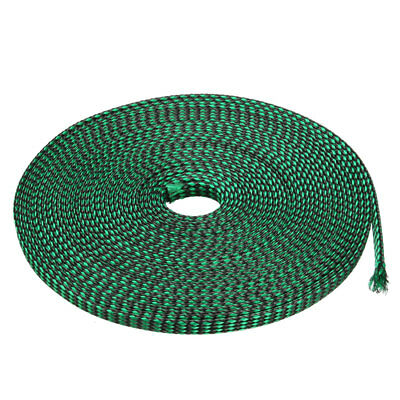 4mm PET Cable Wire Wrap Expandable Braided Sleeving Black Green 10M Length