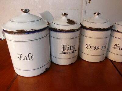 Genuine FRENCH Antique Set of 6 White & Blue Enamel CANNISTERS - Coffee - Spices