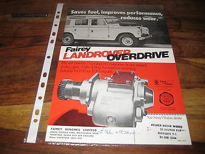 Land Rover Fairey Overdrive Advert/Sales Brochure.