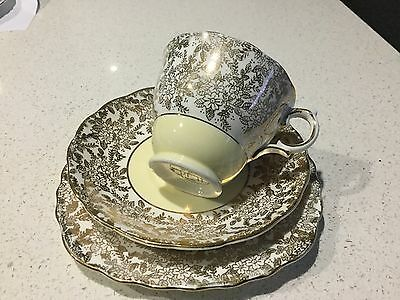 Colclough Trio Bone China England Yellow And Heavy Gold Pattern
