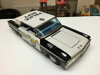Vintage Tinplate Friction Powered Toy Police Car - Japan