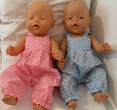 """17"""" Dungarees Boy Girl Dolls Clothes Handmade Fit Baby Born 43Cm Or Similar"""