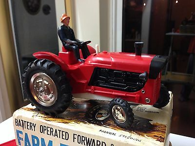 Vintage Battery Operated Marx Toys Farm Tractor - Made In Hong Kong