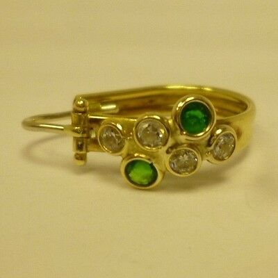 Discounted Stock: Lovely 18ct Yellow Gold, Emerald & Diamond Drop Hoop Earrings
