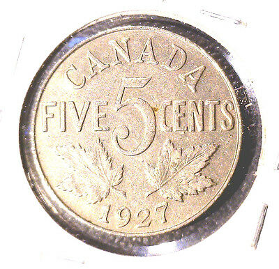1927 Canada 5 cent coin XF George V KM#29