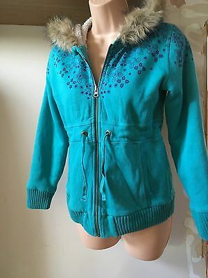 Fat Face Turquoise Hooded Zip Thru Fleece Lined Long Jacket  Age 12-13 Years