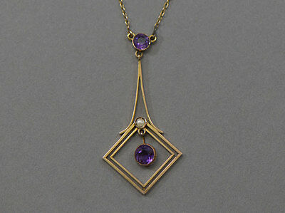 EDWARDIAN 9ct YELLOW GOLD AMETHYST PEARL LAVALIERE NECKLACE MARKED BELLE EPOQUE