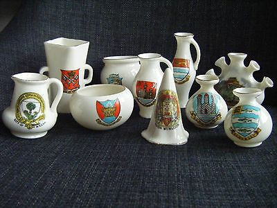 10 Pieces Crested China - 5 Goss