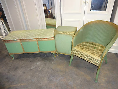 vintage 3 piece set loom furniture ottoman chair basket shabby chic upcycle