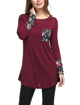 Women Long Sleeves Chest Pocket Floral Prints T-Shirt