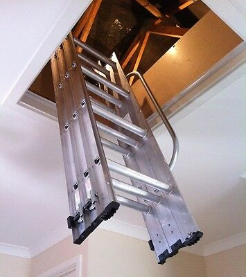 Werner ABRU 3 Section Loft Ladder with Handrail - FREE DELIVERY with StoreFloor