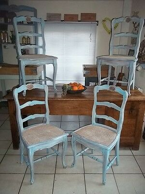 French Vintage Set Of 4 Provincial Louis Xv Style Painted Kitchen/dining Chairs