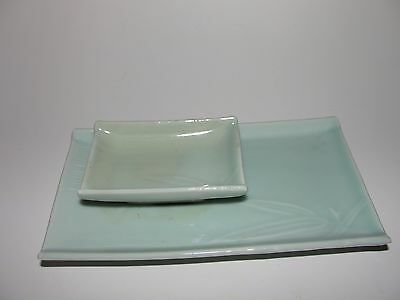 Antique Chinese Celadon Glaze Bamboo Double Ink Tray Dish Plate