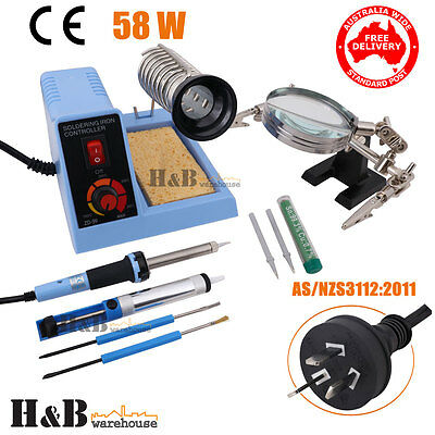 58W Soldering Iron Station Variable Temperature Magnifier Desoldering Pump T0267