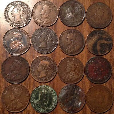 Lot Of 16 Canada Large Cents Lot Of 16 Coins Vickies/edward/george #a3