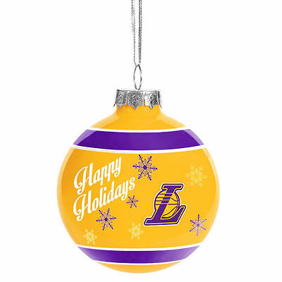 Los Angeles Lakers Happy Holidays Glass Ball Ornament - NBA