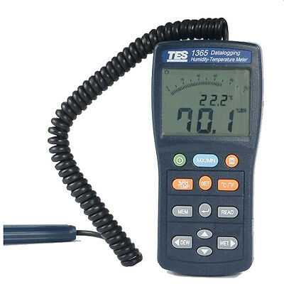 TES TES-1365 Datalogging Humidity Temperature Meter with a Dual LCD Display