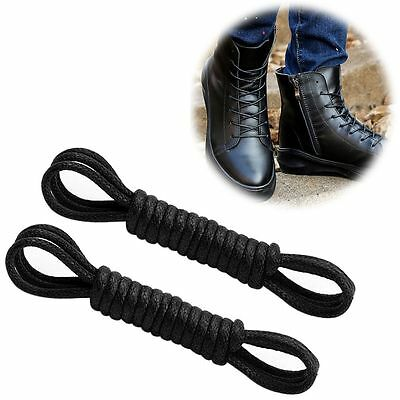 Waxed Cotton Round Shoe Laces Shoelaces for Leather Boot Brogues-100cm Black