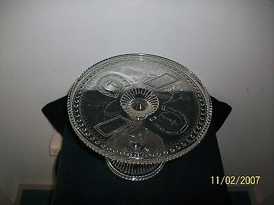Fine Antique 1881 Adams & Co. Lucky Horseshoe Pattern Glass Cakestand