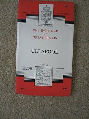Ordnance Survey Map 20 Ullapool 1958 Major Roads Revised 1961 seventh series