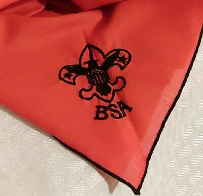 VINTAGE BSA NECKERCHIEF RED BLACK LATE 70s EXC COND BOY SCOUTS OF AMERICA