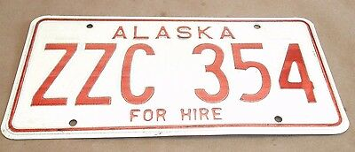 Vintage 1970s Alaska For Hire License Plate Tag ZZC 354 Livery Car Plate NICE!