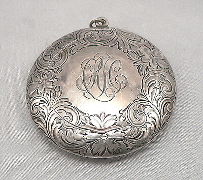 Antique Engraved STERLING Silver Round COMPACT Chatelaine Loop R. Blackington