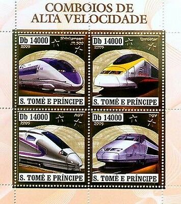 S.Tome MNH 4v SS,Gold,Embossed,Odd Stamps,Railways,Metro,Speed Trains,Eurostar