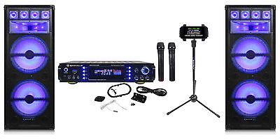 "Technical Pro Dual 15"" LED Karaoke Machine Speaker System+Mixer+2) Wireless Mics"