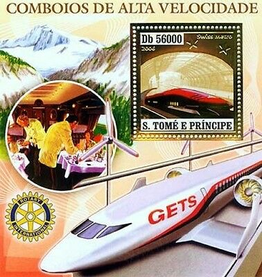 S. Tome MNH SS, Gold, Embossed, Odd Stamps, Railways, Metro, Speed Trains, Euros