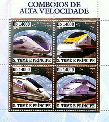 S.Tome MNH SS,Silver,Embossed,Odd Stamps,Railways,Metro,Speed Trains,Eurostar-E0