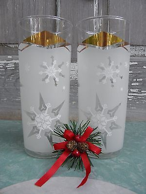 (2)Vintage Festive Tall Frosted Snowflake Iced Tea Highball Glass Flat Tumbler