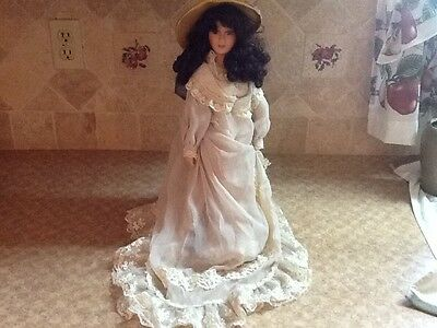 """18"""" Tall Vintage Doll with Long Dark Curls, Green Eyes with Stand"""