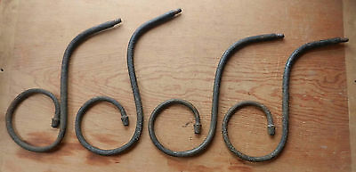 """4 Antique 19th C Hand Forged Wrought Iron 12"""" Decorative Curves Hoops Display B7"""