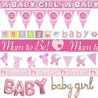 Pink Baby Shower Banner Girl Banners Party Decorations Foil Jointed Bunting