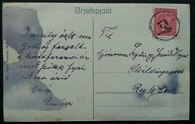 ICELAND Scarcer Numeral Cancel 134 BUDARDALUR on Domestic Postcard Rare
