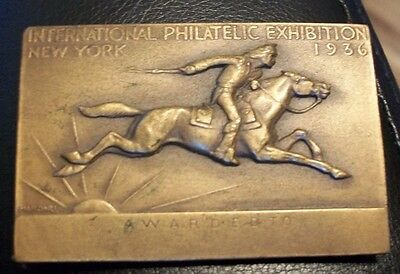 Unique Gift Award from 1936 Intn'l Philatelic Exhibition New York Medal (stamp)