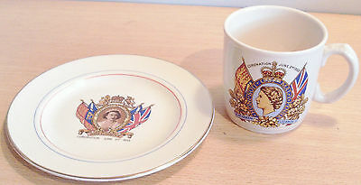 QUEEN'S 1953 CORONATION Plate & Cup VGC Made in England