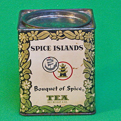 """Vintage And Collectible Small Spice Islands """"Bouquet of Spice"""" Tea Tin"""