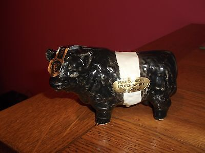 Rare Miniature Rutherfords Whisky Ceramic Belted Galloway Bull Flask