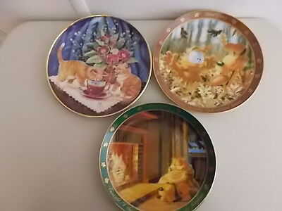3 Collector Cat Plates - Tea For Two, God Created Leaves, Uncle Ed