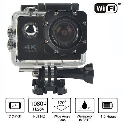 2.0'' 4K Sports Action Camera Wifi 1080P Waterproof Helmet Camera 16MP