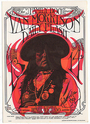 "Original Mint Family Dog Van Morrison ""geronimo"" Postcard Fdd6 Signed By Mouse!"