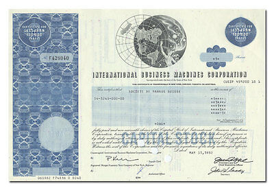 International Business Machines (IBM) Corporation Stock Certificate
